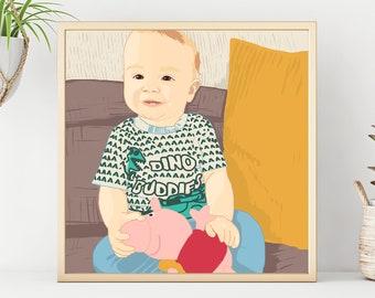 Baby Portrait, Custom Family Portrait, Newborn Baby Gift Idea, Custom Drawing, Portraiture, Child Gift Idea, Personalized Gift
