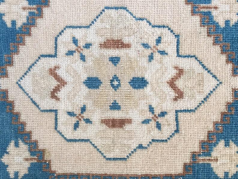 Beige Copper Kitchey Lamb Face 2 X 2 Vintage Turkish Oushak Rug Yastik 70/'s Small Carpet Tapestry Colors Blue