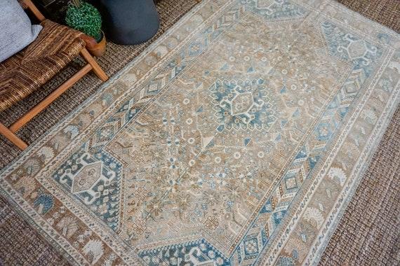 52 X 85 Vintage Handmade Rug Camel Tan Denim Blue Beige Etsy