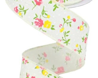 1.5 cream vintage floral ribbon, ribbon by the roll, wired edge ribbon, wired ribbon, wired ribbon by the roll, ribbon, vintage floral