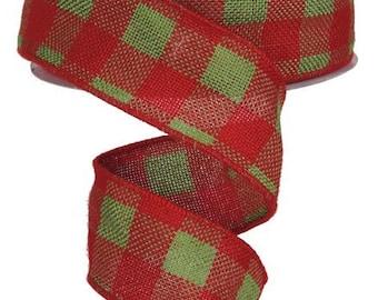 2.5 christmas ribbon plaid, ribbon by the roll, wired edge ribbon, wired ribbon, wired ribbon by the roll, ribbon , christmas ribbon