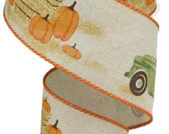 2.5 beige truck w/pumpkin on royal ribbon, ribbon by the roll, wired edge ribbon, wired ribbon by the roll, vintage truck ribbon