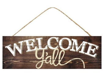 15x5 welcome yall wreath sign, wreath signs, signs for wreaths, wreaths, signs, signs for home, wreath supplies, deco mesh, word signs