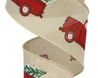 2.5 Christmas red truck ribbon, wired ribbon, vintage red truck, red truck, red truck ribbon,  red truck wired ribbon, christmas ribbon