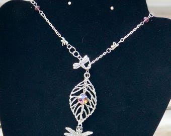 Dragonfly lariat necklace with pink crystal accent