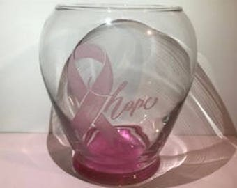 Hope breast cancer pink ribbon flower vase