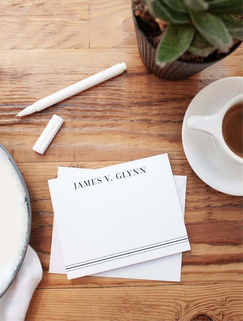 Custom Stationery Striped Personalized Stationery Men/'s Name Stationery Personalized Stationery Personalized Flat Notecard Set