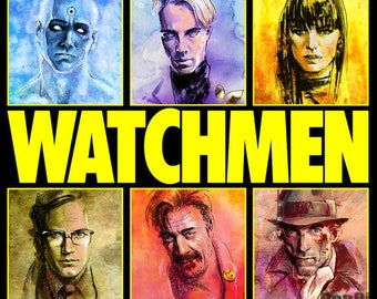 Watchmen. Comedian. Dr.Manhattan. Nite Owl. Ozymandias. Rorschach. Silk Spectre. Art Print. DC Comics.