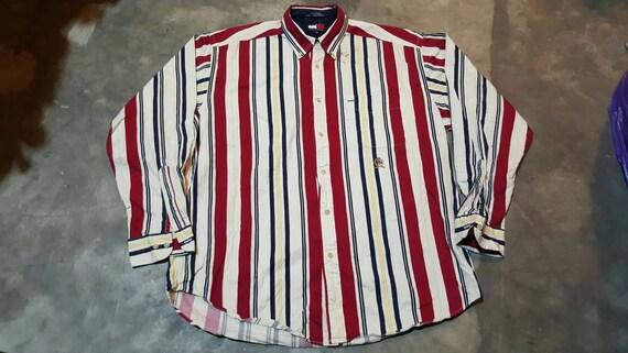 bd03593f18 Vintage 90s Tommy hilfiger Multicolor striped long sleeve | Etsy