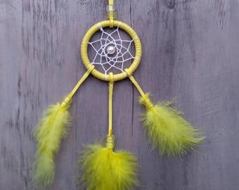 Handmade mini small dream catcher Yellow