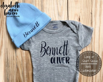 f778d2fbd Custom Baby Onesie, Baby Name Onesie, Personalized Name Onesie, Custom  Infant Onesie, Personalized Infant Cap, Coming Home Outfit