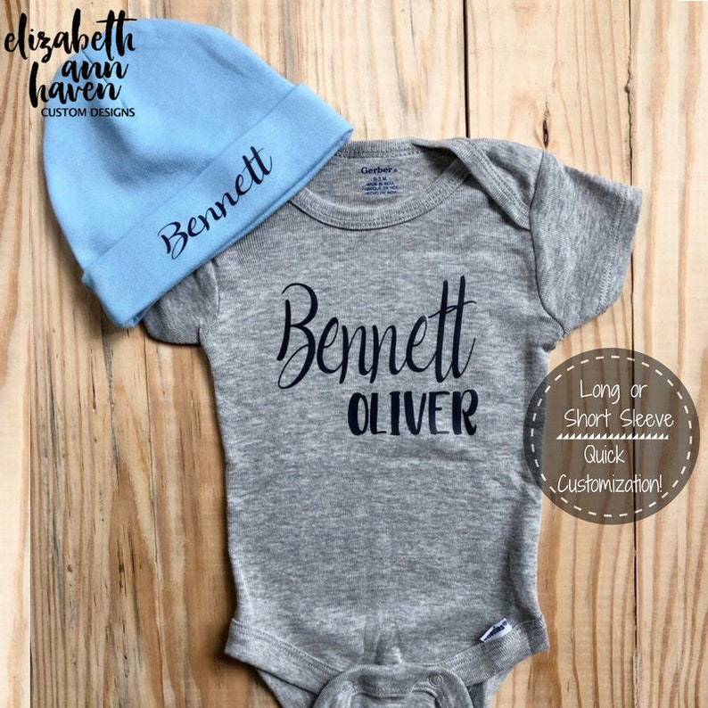70c566b4f Custom Baby Onesie Baby Name Onesie Personalized Name | Etsy