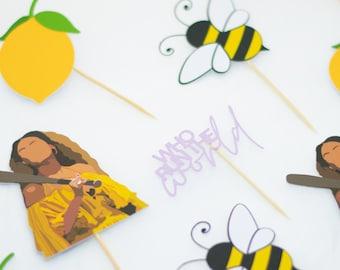 Beyonce-inspired Lemonade Cupcake toppers - Lemon - Bee - Who Run the World