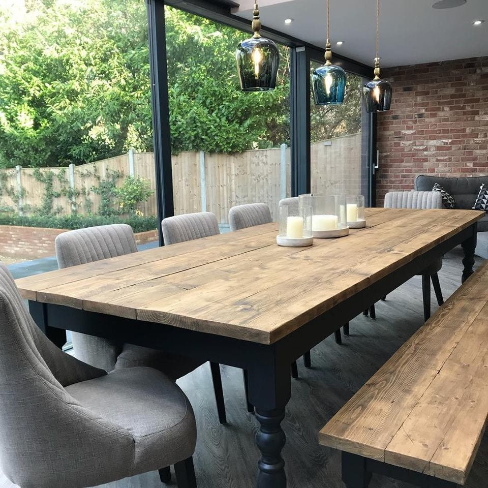 Extra Wide Farmhouse Dining Table Set, Extra Long Dining Room Table Bench