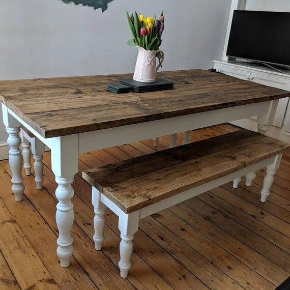 Rustic Farmhouse Dining Table Set with benches - reclaimed timber -  handmade - kitchen table - bespoke