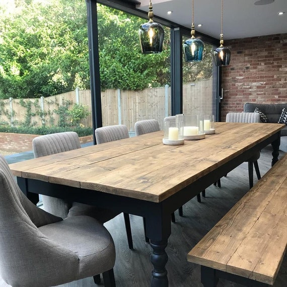 Extra Wide Rustic Reclaimed Farmhouse Dining Table Rustic Etsy
