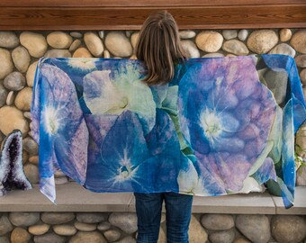 Womans Scarves Blue, Womans Scarf, Scarves for Women, Blue Scarves, Blue Floral Scarves, Gift For Her, Mother's Day Gift, Birthday Gift