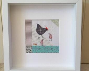 Chicken Hen Handmade Vintage Viyella Framed Picture