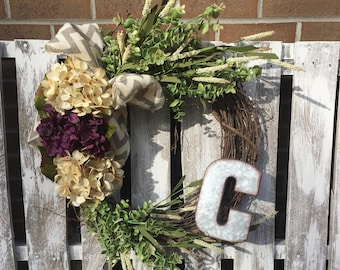 HYDRANGEA SPRING WREATH with natural grapevine base