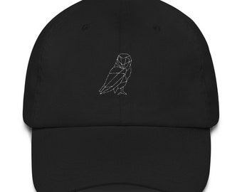 ab39581c3c3 Minimalistic Polygon Owl Hat - Unisex Dad Hat Embroidered Baseball Black  White Cap Low Profile Strap Back Unisex Adjustable Baseball Hat
