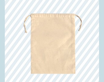 """2"""" X 3"""" 100% Organic Cotton, Biodegradable and Reusable Premium Quality Muslin Double Drawstring Bags (Pack of 25, 50, 100, 200)"""