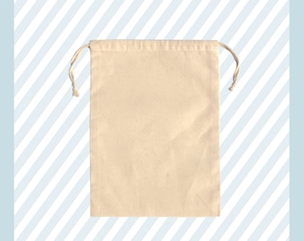 """4"""" X 6"""" 100% Organic Cotton, Biodegradable and Reusable Premium Quality Muslin Double Drawstring Bags (Pack of 25, 50, 100, 200)"""