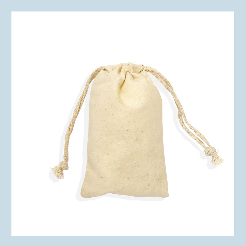Pack of 25, 50, 100, 200 4 X 6 100/% Organic Cotton Biodegradable and Reusable Premium Quality Muslin Double Drawstring Bags