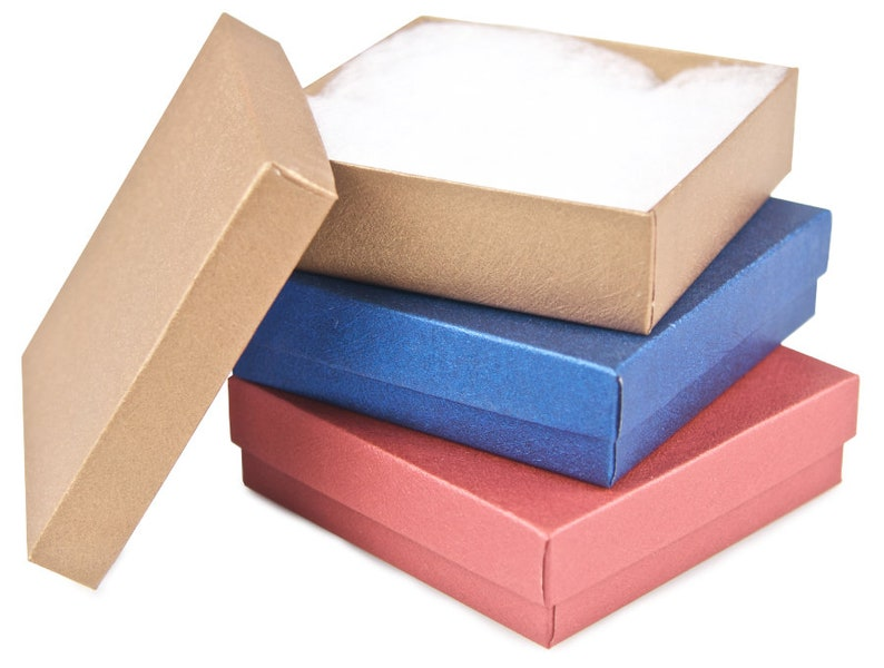 3.5 x 3.5 x 1 Jewelry Gift Box Bracelet Gift Box 3 Three The Jewel Tones Small Gift Boxes with cotton filler Earring Gift Box