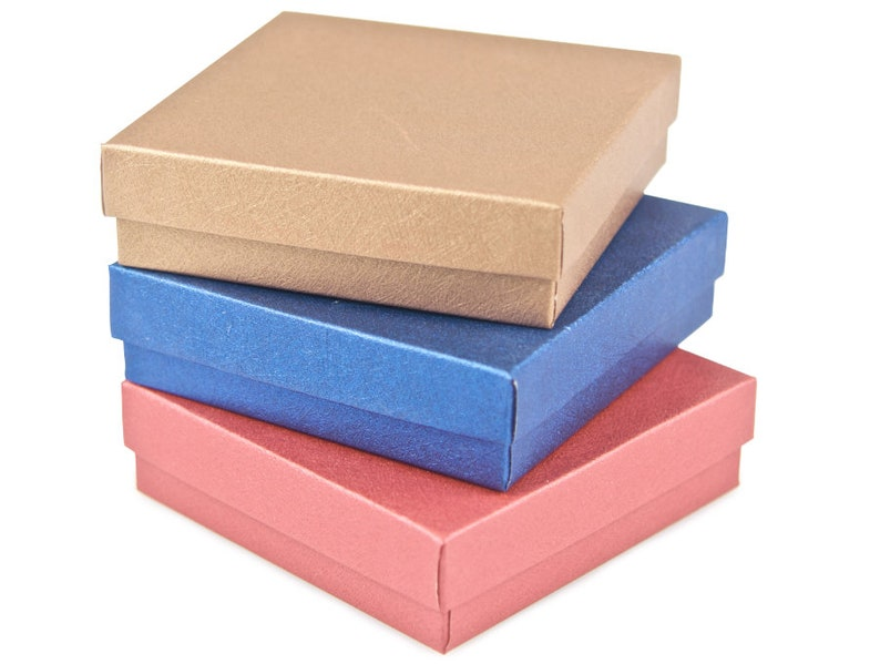 Three 3 Small Gift Boxes With Cotton Filler The Jewel Tones 3 5 X 3 5 X 1 Bracelet Gift Box Earring Gift Box Jewelry Gift Box