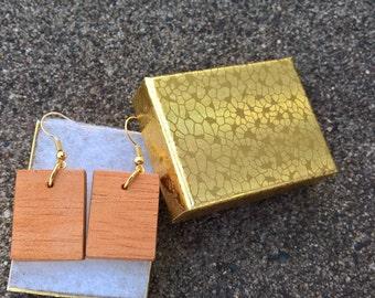 Handmade Spanish cedar earrings