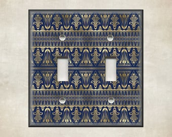 Art Deco Decor Navy Blue Gold Art Deco Switch Plate Covers And Outlet Covers Luna Gallery Free Shipping Metal Light Switch Cover