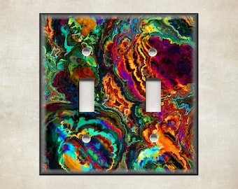 PERSONALIZED ORANGE FLOWER ABSTRACT PATCH WORK ART LIGHT SWITCH PLATE COVER