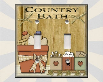 Metal Light Switch Plate Cover   Country Bath Farmhouse Decor Primitive  Bathroom Decor Country   Wallplates Outlets Rocker   Free Shipping