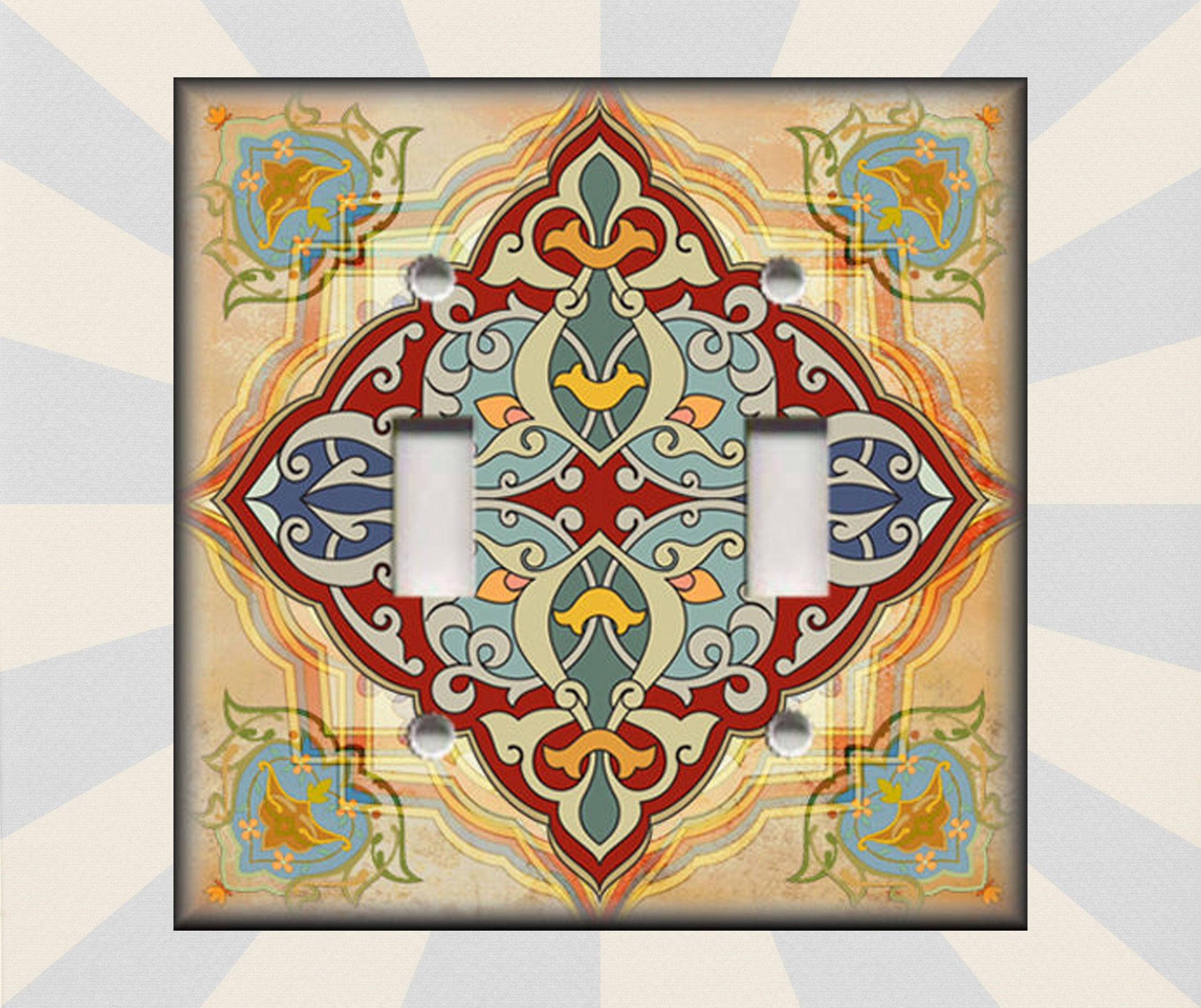 Metal Light Switch Cover Vintage Moroccan Decor Tile Design Decorative Switch Plate Covers And Outlet Covers Luna Gallery Free Shipping