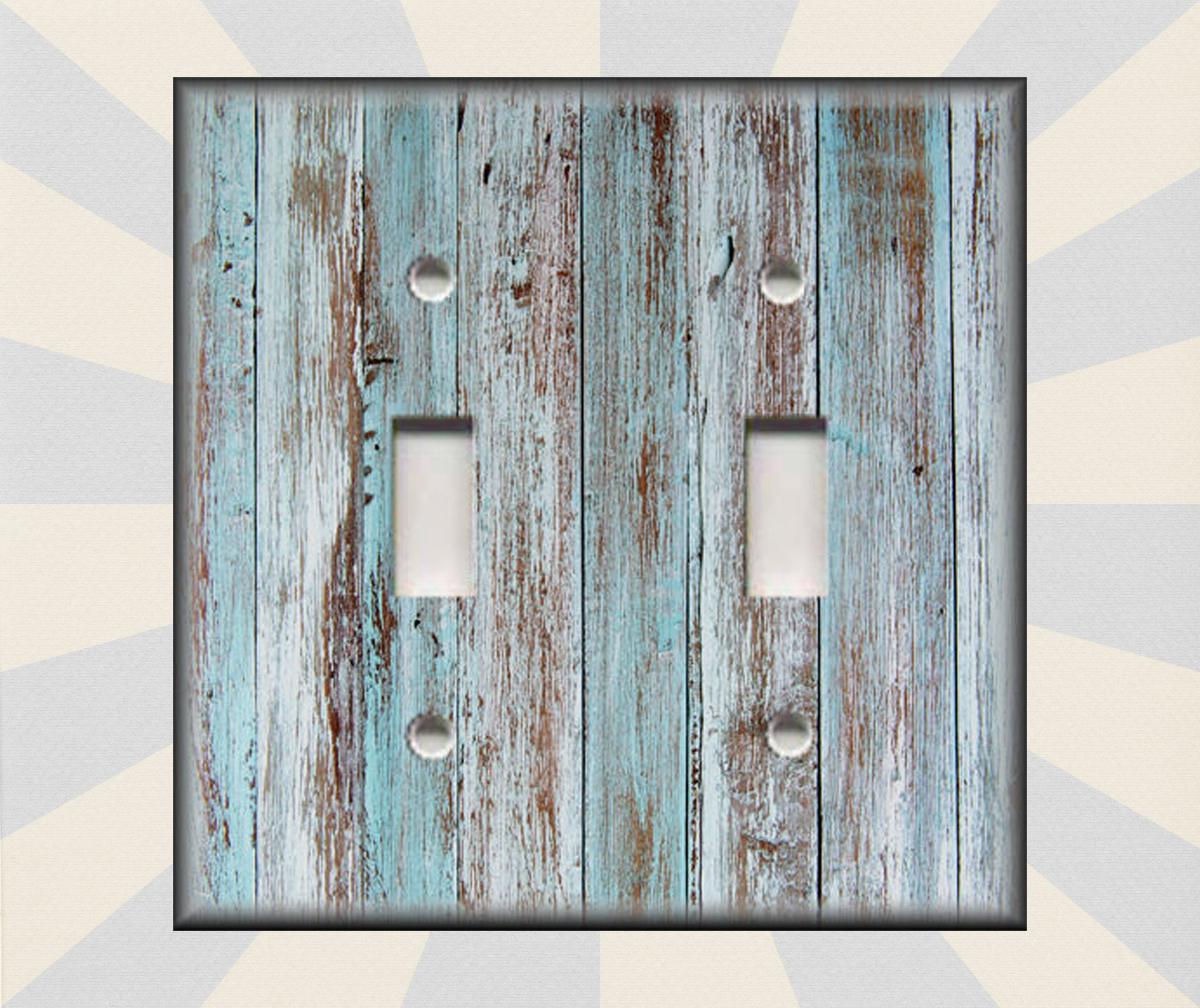 RUSTIC OLD WOOD NAUTICAL SEA SHELL FISH NET LIGHT DOUBLE GFCI SWITCH PLATE DECOR