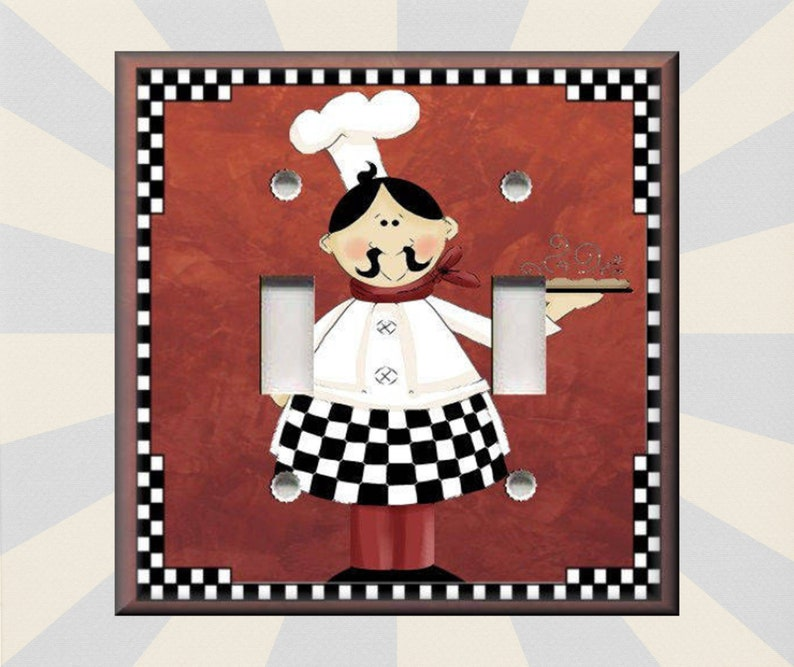 Metal Light Switch Plate Cover Fat Chef Kitchen Decor Red Etsy