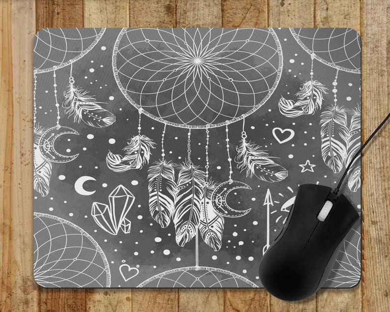 Mouse Pad  Dreamcatcher Boho Gypsy Computer Mouse Pad Grey  image 0