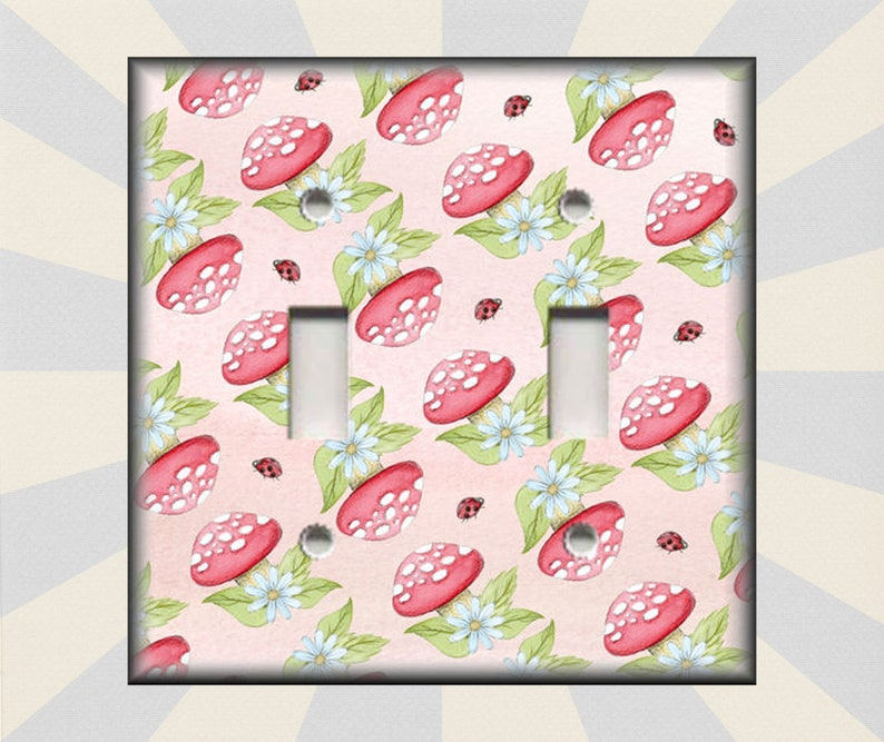 Ladybugs And Toadstools Home Decor Girls Room Decor Metal Light Switch Plate Covers Free Shipping Switch Plates Outlets Rocker Triple