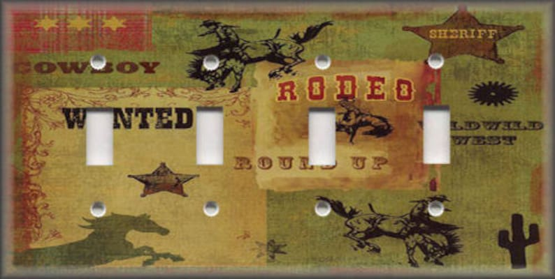 Home Garden Switch Plates Outlet Covers Rodeo Cowboy Western Home Decor Country Decor Metal Light Switch Plate Cover Stbalia Ac Id