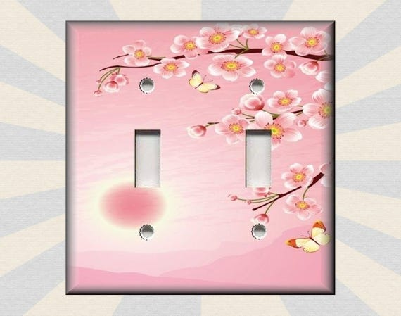 JAPANESE PINK SAKURA CHERRY FLOWERS BLOSSOM SINGLE GFCI LIGHT SWITCH PLATE COVER