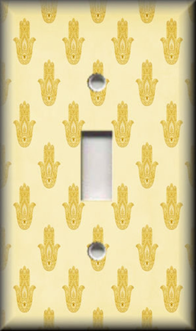 Free Shipping Metal Light Switch Plate Cover Switch Plates Outlet Covers Triples Vintage Hamsa Hand Home Decor Hamsa Pattern Yellow