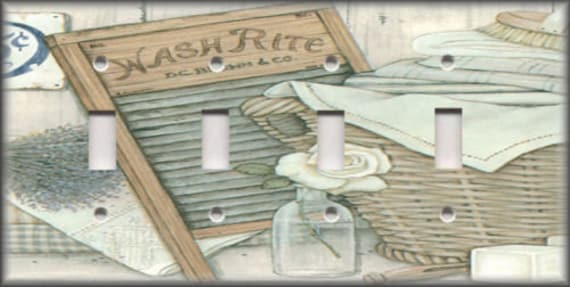 Other Home Decor Laundry Washboard Laundry Room Home Wall Decor Double Light Switch Plate Home Garden