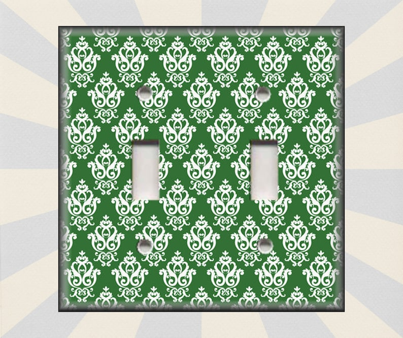 Switch Plates And Outlet Covers Triple Toggle French Damask Decor Free Shipping Metal Light Switch Cover Dark Green Pattern Decor