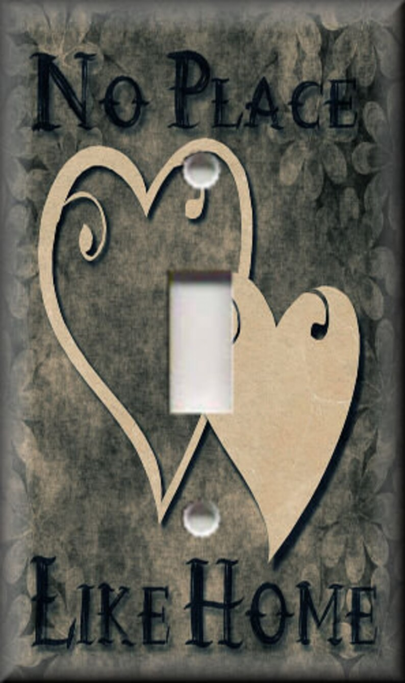 Switch Plates And Outlet Covers Luna Gallery Designs Grey Tan Home Decor Hearts Metal Light Switch Covers No Place Like Home