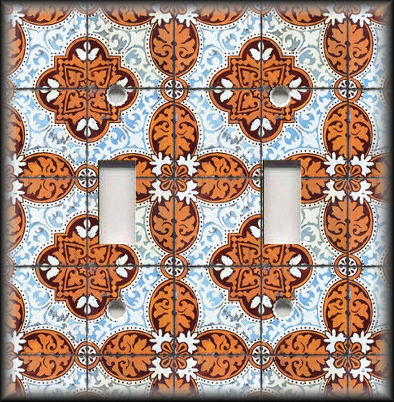Metal Light Switch Cover Vintage Lisbon Tile Design Decorative Switch Plate Covers And Outlet Covers Luna Gallery Free Shipping