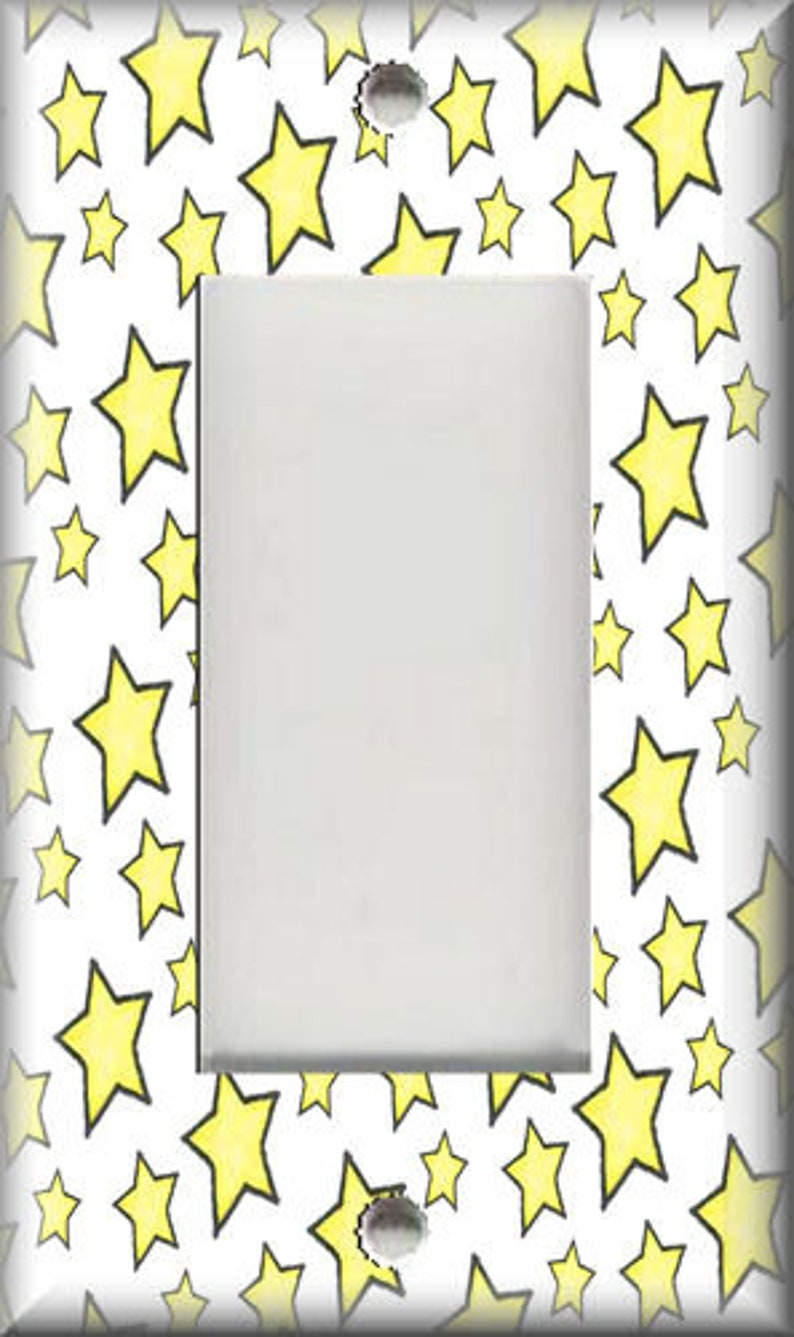 Luna Gallery Designs Metal Light Switch Cover Free Shipping Unicorn Home Decor Yellow Stars Switch Plate Covers And Outlet Covers