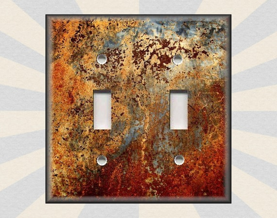 Metal Light Switch Covers Image Of Aged Copper Patina Etsy