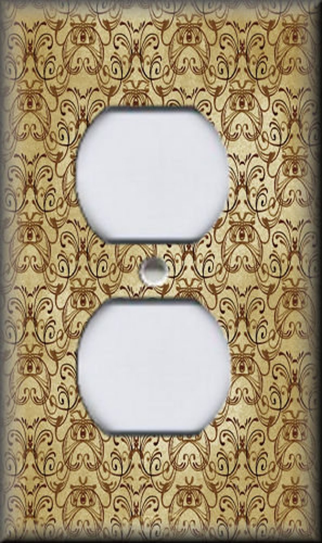Vintage Art Nouveau Design Tan Gold Art Nouveau Home Decor Free Shipping Switch Plates Outlet Covers Metal Light Switch Plate Cover