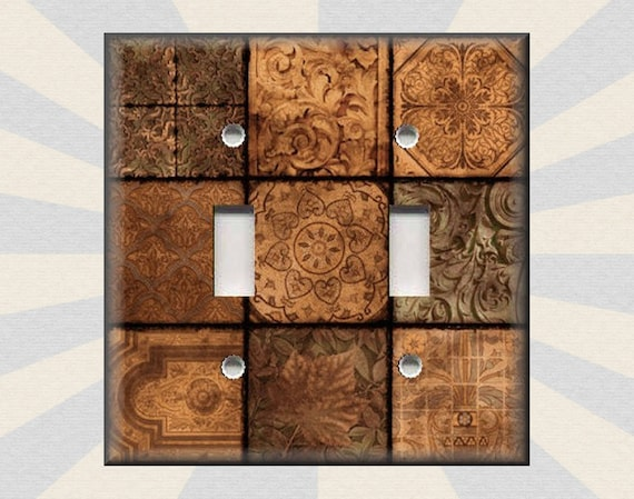 Metal Light Switch Plate Cover Tuscan Medallions Orange Home Decor Medallions