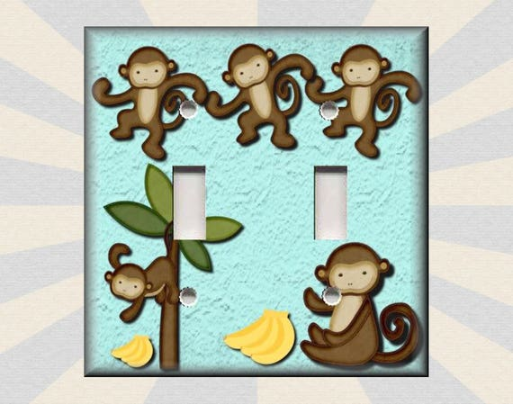 Metal Light Switch Plate Cover Cute Monkey Decor Kids Room Etsy